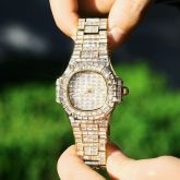 40mm Baguette Cut Stone Iced Dial Watch in Gold