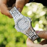 40mm Baguette Cut Stone Iced Dial Watch in White Gold
