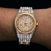 39mm Iced Two-tone White Dial Stainless Steel Watch in Gold