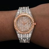 39mm Iced Two-tone White Dial Stainless Steel Watch in Rose Gold