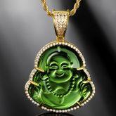 Iced Green Jade Buddha Pendant