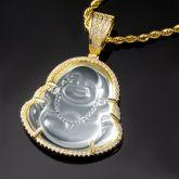 Iced Clear Jade Buddha Pendant