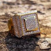 Men's Square Shape Paved Diamond Ring