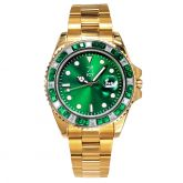 40mm Two Tone Iced Green Luminous Dial Watch in Gold