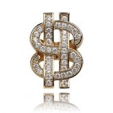 Iced Money Dollar Sign Ring in Gold