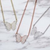 Iced Butterly Cuban Necklace