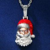 Santa Claus Pendant in White Gold