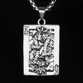Skull Poker Card K Titanium Steel Pendant