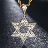 Iced Star of David Pendant in Gold