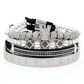 4Pcs Iced Crown Copper Beads and Roman Number Steel Bracelet Set in White Gold