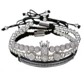 3Pcs Iced Crown Copper Beads Steel Bracelet Set in White Gold