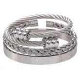 3Pcs Braid Steel Wire Open Bracelet with Roman Numbers Bracelet Set in White Gold