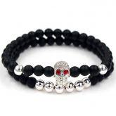2Pcs Black Frosted & Silver Copper Beads Skull Bracelet