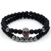 2Pcs Black Frosted & Black Gold Copper Beads Skull Bracelet