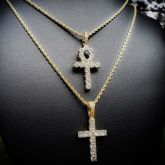 Iced Cross Pendant in Gold