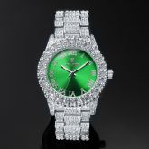 Iced Roman Numerals Green Dial Men's Watch in White Gold
