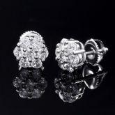 Flower Cluster Stud Earrings in White Gold
