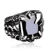 Black Stone Dragon Claw Titanium Steel Ring