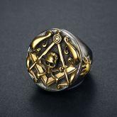 Gold Masonic Skull Stainless Steel Ring