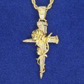 Iced Rose Cross Pendant in Gold