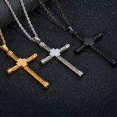 Twisted Rope Steel Wire Cross Titanium Steel Pendant