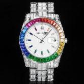 Rainbow Baguette Cut Men's Watch in White Gold