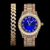 Iced Roman Numerals Blue Dial Men's Watch + 8mm Cuban Bracelet Set in Gold