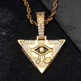 Iced Egyptian Pyramid Eye of Horus Pendant in Gold