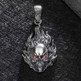 Vintage Flame Skull Pendant