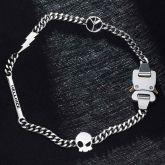 Custom Letters Bar Belt Buckle Cuban Chain with Lightning Bolt, Peace, Skull Sign