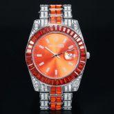 Orange Baguette Cut Date Display Men's Watch in White Gold