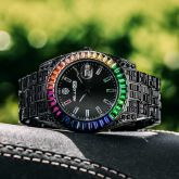 Rainbow Baguette Cut Men's Watch in Black Gold