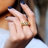 Women's 10mm Cuban Rings in Gold