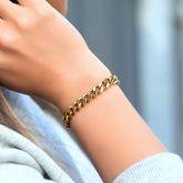 Women's 8mm Stainless Steel Cuban Bracelet in Gold