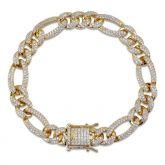 Women's 10mm 18K Gold Finish Iced Figaro Bracelet