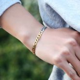Women's 5mm Two-Tone Figaro Bracelet