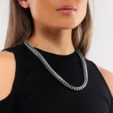 Women's 8mm 316L Stainless Steel Cuban Link Chain in White Gold