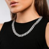 Women's Iced 14mm Miami Cuban Chain with Box Clasp in White Gold
