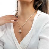 Women's Iced Ankh Pendant in Gold