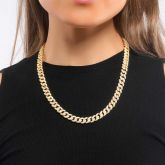 Women's 8mm Micro Paved Cuban Chain in Gold