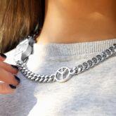 Women's Custom Letters Bar Belt Buckle Cuban Chain with Lightning Bolt, Peace, Skull Sign