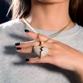 Women's Gold Iced Broken Heart Pendant