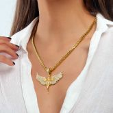 Women's Iced Angel Pendant in Gold