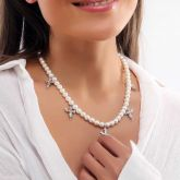 Women's Cross and Praying Angel Charm Pearl Necklace