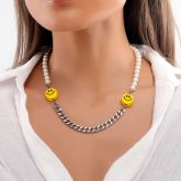 Women's Smile Face Pearl and Steel Cuban Chain Necklace
