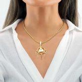 Women's Egyptian Pyramid Eye of Horus Pendant in Gold