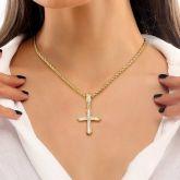 Women's Halo Baguette Stones Cross Pendant in Gold