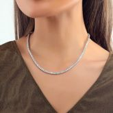 Women's 3mm Tennis Necklace in White Gold