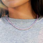 Women's 4mm Pink Tennis Chain in White Gold