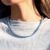 Women's 4mm Blue Stones Tennis Chain in 18K White Gold